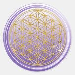 Flower Of Life / Blume des Lebens - GOLD violet Round Sticker