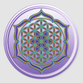 Flower Of Life / Blume des Lebens - Lotus Contour Round Sticker