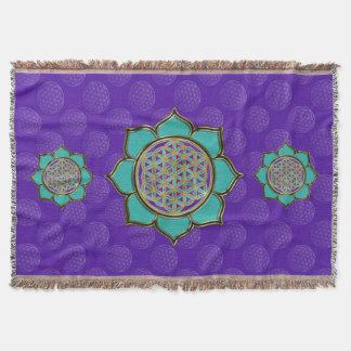 Flower of Life / Blume des Lebens - Lotus türkis Throw Blanket