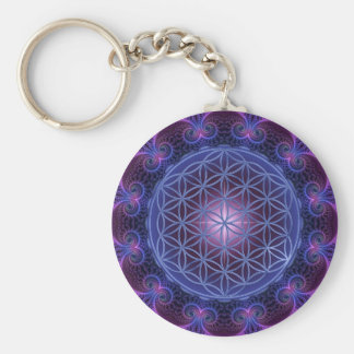 FLOWER OF LIFE/Blume des Lebens Mandala II Square Basic Round Button Key Ring