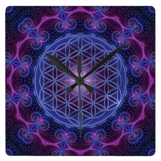 FLOWER OF LIFE/Blume des Lebens Mandala II Square Square Wall Clock