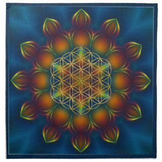 FLOWER OF LIFE/Blume des Lebens Mandala III Square Napkin