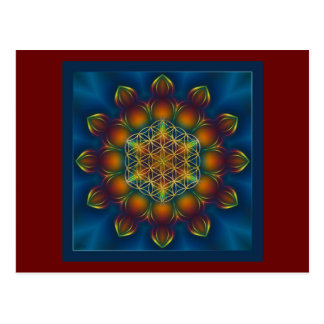 FLOWER OF LIFE/Blume des Lebens Mandala III Square Postcard