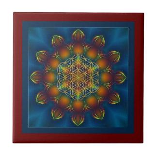 FLOWER OF LIFE/Blume des Lebens Mandala III Square Tile