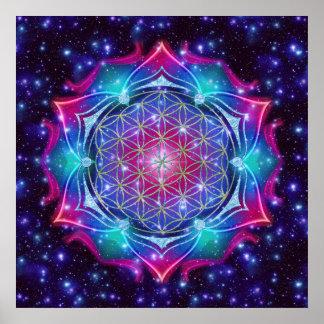 FLOWER OF LIFE Blume des Lebens Mandala IV Square Print