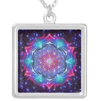 FLOWER OF LIFE/Blume des Lebens Mandala IV Square Silver Plated Necklace