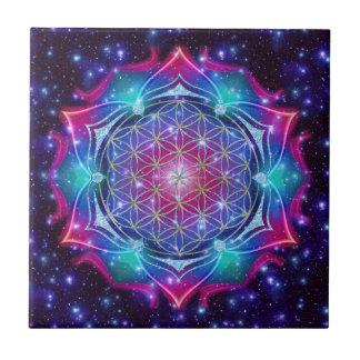 FLOWER OF LIFE/Blume des Lebens Mandala IV Square Tile