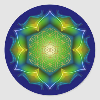 FLOWER OF LIFE / Blume des Lebens - Mandala V Classic Round Sticker