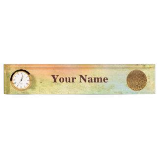 Flower Of Life / Blume des Lebens - medal gold Desk Name Plate