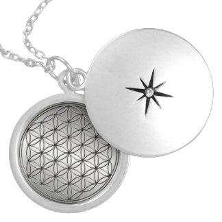 Flower of Life Blume des Lebens Metallic Silver Round Locket Necklace