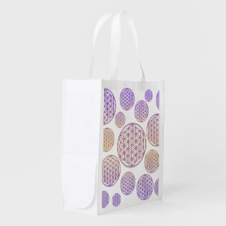 Flower of Life / Blume des Lebens - pattern violet Reusable Grocery Bag