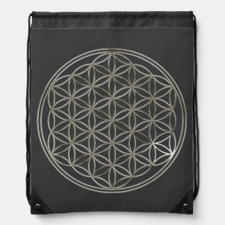 Flower of Life / Blume des Lebens - SILVER Drawstring Bag