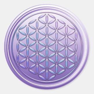 Flower Of Life / Blume des Lebens - stamp violet Round Sticker