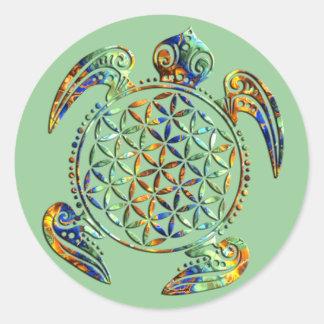 Flower of Life / Blume des Lebens - turtle colored Round Sticker