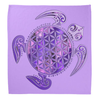 Flower of Life / Blume des Lebens - turtle purple Kerchief