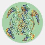Flower of Life / Blume des Lebens - turtle Round Sticker