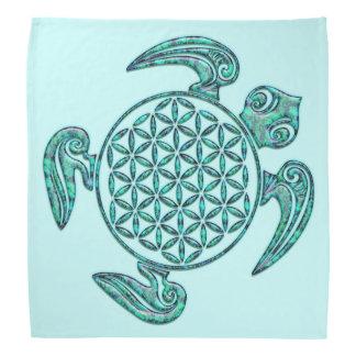 Flower of Life / Blume des Lebens turtle turquoise Bandannas