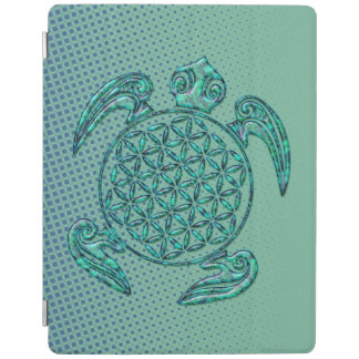 Flower of Life / Blume des Lebens turtle turquoise iPad Cover