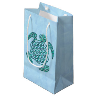 Flower of Life / Blume des Lebens turtle turquoise Small Gift Bag