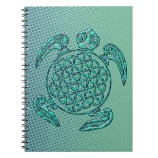 Flower of Life / Blume des Lebens turtle turquoise Spiral Notebook