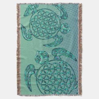 Flower of Life / Blume des Lebens turtle turquoise Throw Blanket