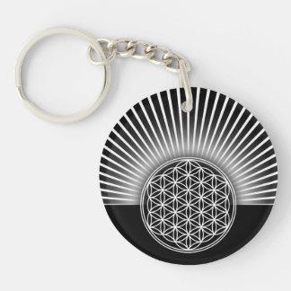Flower of Life / Blume des Lebens - white flat Double-Sided Round Acrylic Key Ring