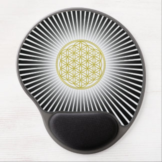 Flower Of Life / Blume des Lebens - white rays Gel Mouse Pad