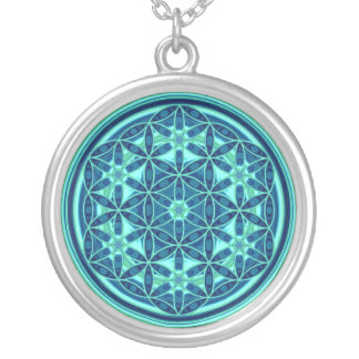 Flower Of Life - Button Style 01 Silver Plated Necklace