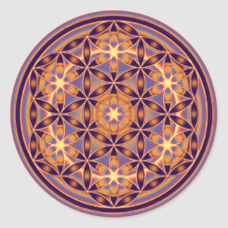 Flower Of Life - Button Style 02 Round Sticker