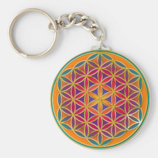 Flower Of Life - Button Style 03 Basic Round Button Key Ring