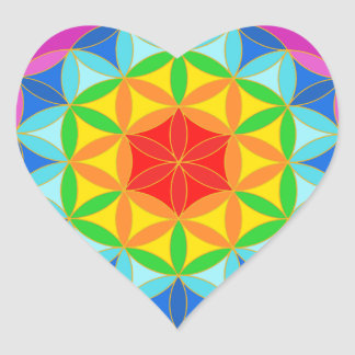 Flower of Life Chakra10 Heart Sticker