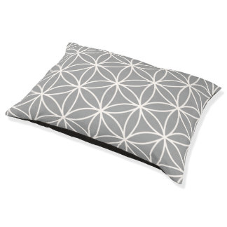 Flower of Life Cream on Grey Big Pattern Pet Bed