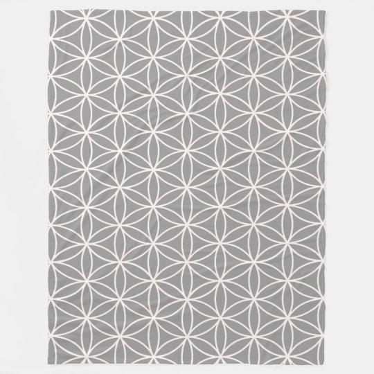 Flower of Life Cream on Grey Pattern Fleece