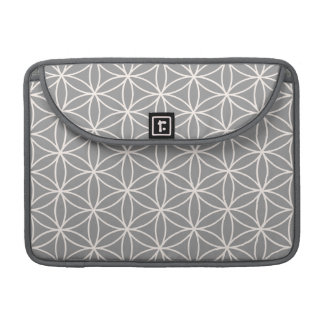 Flower of Life Cream on Grey Pattern Sleeve For MacBook Pro