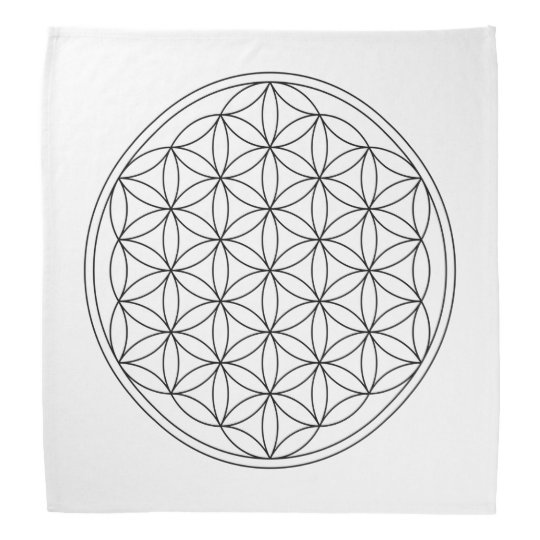 Flower Of Life Crystal Grid Cloth (V-Black) Bandana