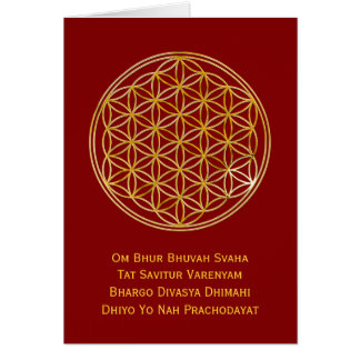 Flower Of Life & GAYATRI MANTRA | gold, dark red Note Card