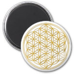 FLOWER OF LIFE - gold 6 Cm Round Magnet