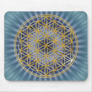 Flower Of Life | gold, big, blue Mouse Pad