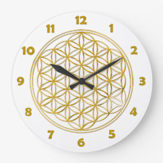 FLOWER OF LIFE - gold + clock face numbers