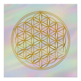 Flower Of Life gold coloured light Print