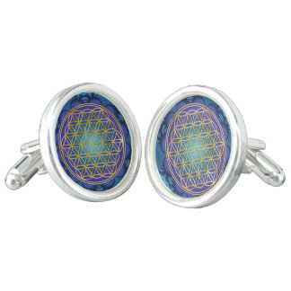 Flower Of Life - gold - fractal 1 Cufflinks
