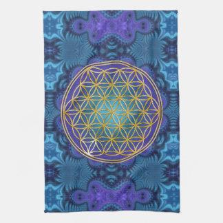 Flower Of Life - gold - fractal 1 Tea Towel