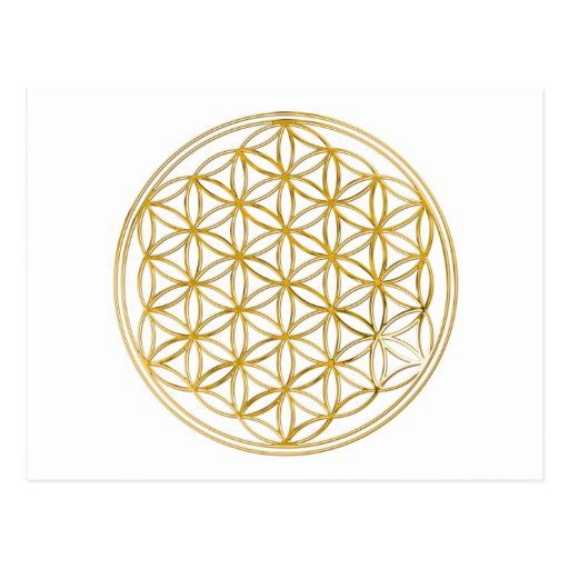 FLOWER OF LIFE - gold Post Card