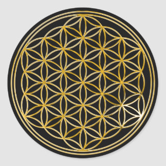 Flower Of Life gold small black Stickers
