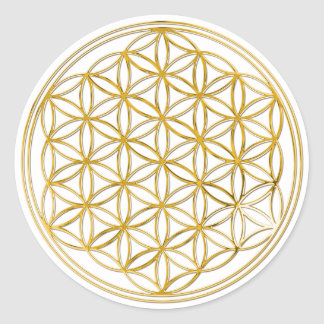 Flower Of Life gold small Round Sticker
