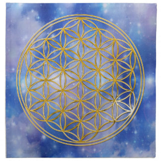 FLOWER OF LIFE - gold + universe Napkin