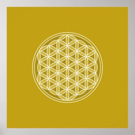 Flower of Life – Golds & White Poster