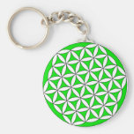 Flower of Life Gray Green Keychains