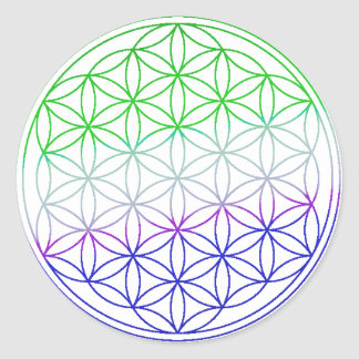Flower of Life - Green & Purple Gradient Round Sticker