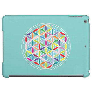 Flower of Life (Horizontal)– Multicoloured on Blue Case For iPad Air